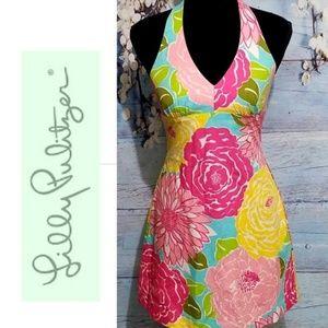 Lilly Pulitzer Bright Garden Halter Dress 2 NWOT